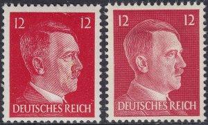 Stamp Germany Mi 788 827 Sc 511B 513 WW2 3rd Reich War Hitler BOTH TYPES MNH