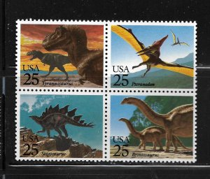 UNITED STATES, 2425B, MNH,  BLK OF 4, DINOSAURS