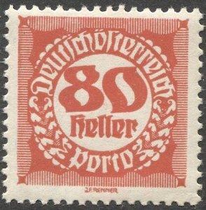 AUSTRIA 1920  Sc J83 80h Postage Due MNH, F-VF