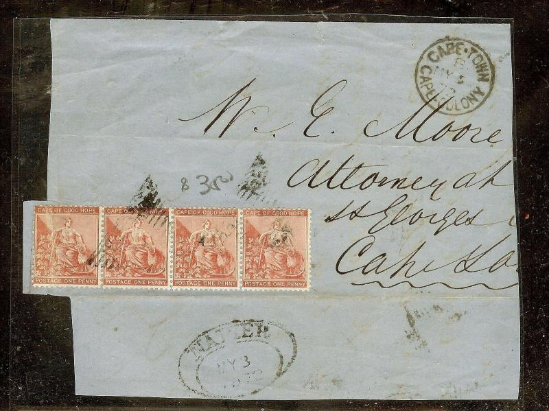 CAPE OF GOOD HOPE (P2605B) 1872 PIECE OF FRONT 1DX TO CAPETOWN