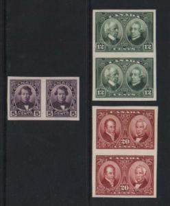 Canada #146a - #148a XF Mint Imperf Pair Set