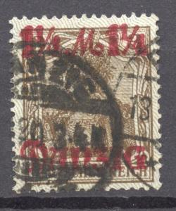 Danzig, 1920 Variety Mi. 27 II, tips of net pointing down, VF ++used, no faults