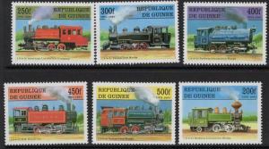 GUINEA SG1761/6 1997 STEAM LOCOMOTIVES MNH