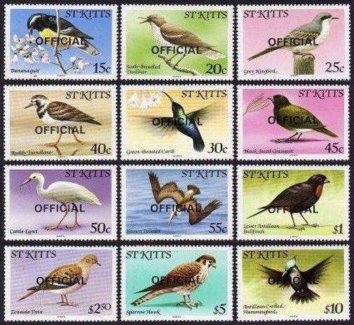 St Kitts O11-O22 Officiel,Mnh.michel D11-D22. Oiseaux 1981.Caribs Banana-Quit