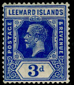LEEWARD ISLANDS SG68a, 3d deep ultramarine, M MINT. Cat £65. WMK SCRIPT.