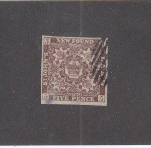 NEWFOUNDLAND (MK6771) # 5  VF-USED  5p 1857 CREST IMPERF / BROWN VIOLET CV $600