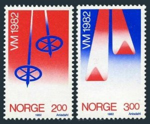 Norway 798-799,MNH.Michel 853-854. World skiing championship,Oslo-1982.