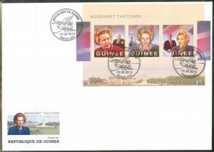 GUINEA 2013 MARGARET THATCHER  MEMORIAL W/CHURCHILL PRES REAGAN & MITTERAND FDC