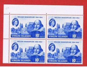 Virgin Islands #143  MNH OG  plate block of 4  Shakespeare  Free S/H