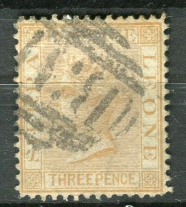 SIERRA LEONE; 1872 early classic QV Crown CC issue fine used 1.5d. value