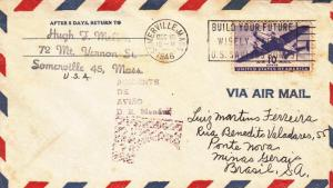 1946, Somerville, MA to Brazil, Airmail (21876)