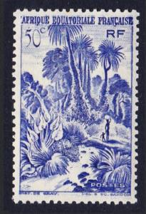 Fr. Eq. Africa Palms and Cataract 1v 50c blue MH SG#238 SC#169