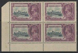 TRINIDAD & TOBAGO SG242a 1935 S.JUBILEE 24c EXTRA FLAGSTAFF MTD MINT IN BLK OF 4