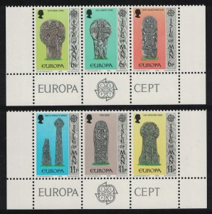 Isle of Man Europa Celtic and Norse Crosses 6v Bottom strips 1978 MNH
