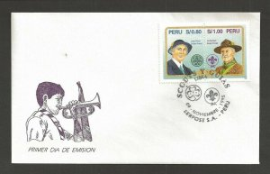 1995 Boy Scouts Girl Guides Peru FDC Olave & BadenPowell