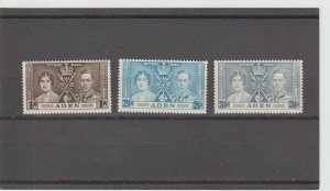 Aden  Scott#  13-15  MH  (1937 Coronation Issue)