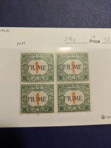Fiume J4c VFNH block, CV $320