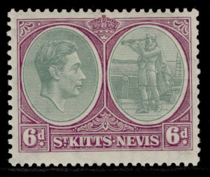 ST KITTS-NEVIS GVI SG74, 6d green & bright purple, M MINT. Cat £13.