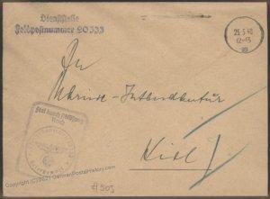 3rd Reich Germany 1940  Kriegsmarine Destroyer Z14 Friedrich Ihn  Feldpos 102211