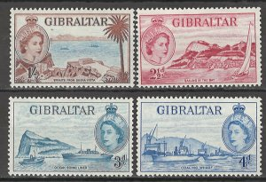 COLLECTION LOT # 4345 GIBRALTAR 4 MH STAMPS 1953 CV+$15