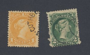 2x Canada Large Queen Used Stamps #23-1c F/VF & #24-2c F Guide Value = $225.00