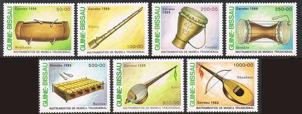 Guinea Bissau 834-840,MNH.Michel 1011-1017. Musical Instruments,1989:Bombalon