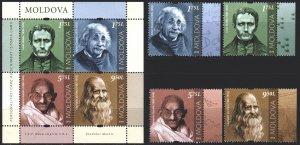 Moldova. 2019. 1119-22, bl84. Gandhi, Einstein, Leonardo Da Vinci, Braille. MNH.