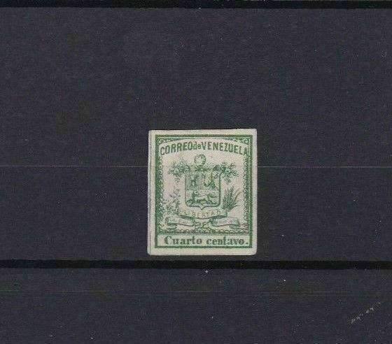VENEZUELA 1862 IMPERF STAMP ¼ CENTAVO MOUNTED MINT  CAT £28  REF 6301