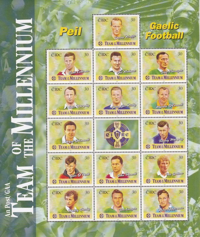 Ireland 1999 Complete Sheet 15 Stamps+Label Team of the Millennium Football NH