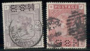 GREAT BRITAIN #96 & 108, high vals, used, each w/perfin, Scott $370.00