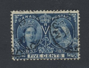 Canada Queen Victoria Jubilee Used Stamp; #54-5c F/VF Guide Value = $40.00