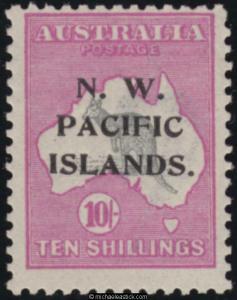 1919 NWPI 10/- Grey & Bright Pink Kangaroo, SG 117, MH
