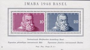 Switzerland 1948 B178 Souvenir Sheet Expo Basel Johann Wettstein VF/NH/(**)