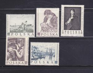 Poland 850-854 Set MH Art, Paintings