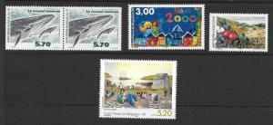 St. Pierre et Miquelon (SPM) 2000 4 Different Scott 691//700 M NH Cat US$10.75