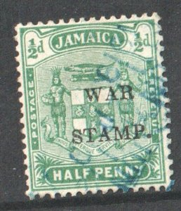 1916  JAMAICA -  SG: 68d - 1/2d YELLOW/GREEN  - USED