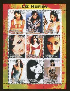Tajikistan Commemorative Souvenir Stamp Sheet - Actress Elizabeth Liz Hurley