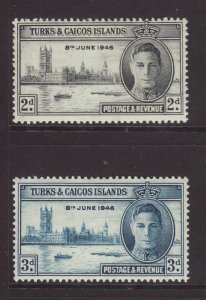 1946 Turks & Caicos Victory Set Mounted-Mint. SG206/207.