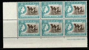 VIRGIN ISLANDS SG80 1964 3c DEFINITIVE MNH BLOCK OF 6