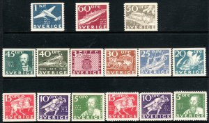 1936 Sweden 300th Anniv of Swedish Postal Serv set MLH Sc# 248 / 262 CV $115.00