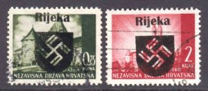 CROATIA 1945 LOCAL RIJEKA OVERPRINTS CDS VF SOUND x2