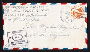 SCOTT #UC4 APO 464 CASERTA ITALY 1943 CENSORED WWII ARMY COVER 67TH CA (AA)