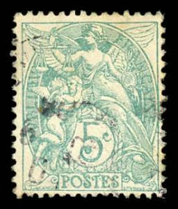 France 113 Used (Type 1A) (Blue Green)