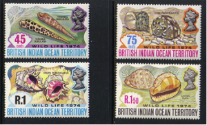 British Indian Ocean Territory #59-62, mint set, sea shells