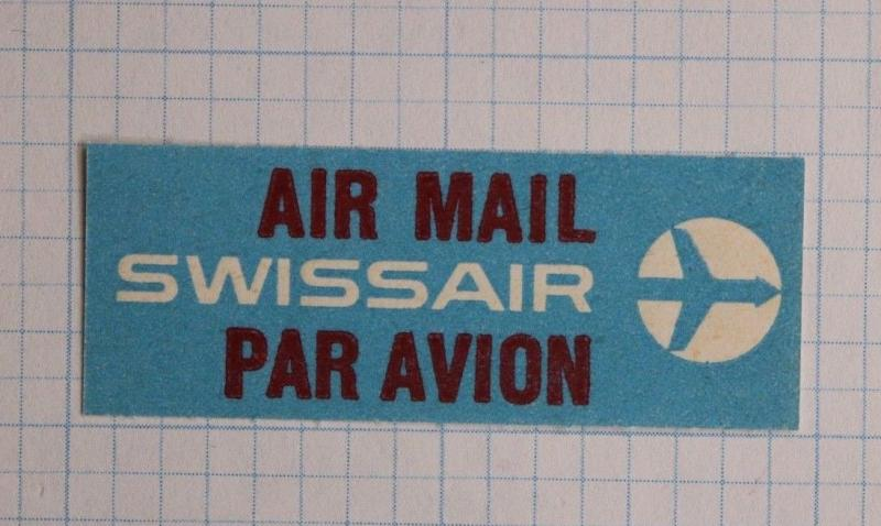 Via Airmail Etiquette Label seal ad Mint Swissair Airlines Logo advert par avion