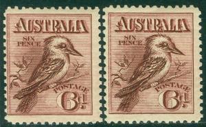 EDW1949SELL : AUSTRALIA 1914 Scott #18. 2 copies, both VF Mint OG VLH. Cat $230.