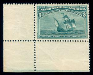 MOMEN: US STAMPS #232 MINT OG NH PSE GRADED CERT XF-90