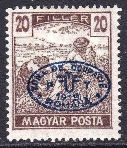 HUNGARY 2N29b BLUE OVERPRINT OG H M/M F/VF $75 SCV