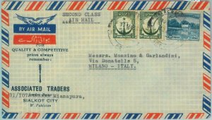 86184 - PAKISTAN - POSTAL HISTORY -  Airmail  COVER to ITALY  1950's