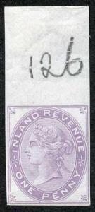 1d Lilac Postal Fiscal SGF20-22 Imprimatur Plate 126